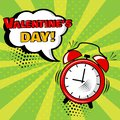 Alarm clock with white comic bubble with Valentine`s Day word on green background. Vector illustration
