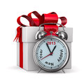 Alarm clock and white gift box Stock Image