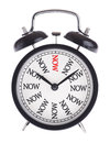 Alarm clock with the word Now Royalty Free Stock Photo