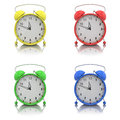 Alarm clocks set on white Stock Photo
