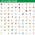 100 alarm icons set, cartoon style