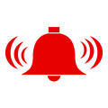 Alarm red icon with ringing bell Royalty Free Stock Photography