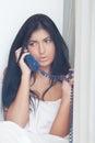 Alarming call beautiful woman having phone Stock Photos