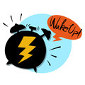 Alarming sound black alarm clock thunder and wake up bubble Royalty Free Stock Images