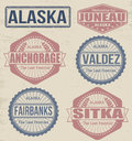 Alaska cities stamps set of on vintage background vector illustration Stock Photo