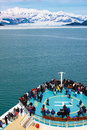 Alaska Cruise Ship Approaching Hubbard Glacier Stock Photography