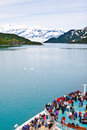 Alaska Cruise Ship Nearing Hubbard Glacier Royalty Free Stock Photo