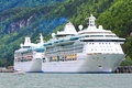 Alaska Cruise Ships Radiance and Rhapsody Royalty Free Stock Photo