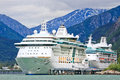 Alaska Cruise Ships Radiance, Rhapsody, Skagway Royalty Free Stock Photo