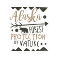 Alaska forest protection of nature design template, hand drawn vector Illustration