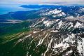 Alaska mountains and coastline, aerial view Stock Image