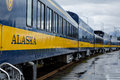 Alaska railroad train cars ready to take tourists and freight usa august designed remote areas of the state lined up in Royalty Free Stock Image