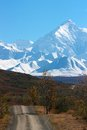 Alaska range and hilly road in denali np national park preserve Stock Images