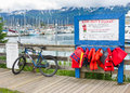 Alaska Seward Harbor - Kids Don't Float Lifevests Stock Photo