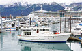 Alaska Seward Small Boat Harbor Cruise Ship Stock Image