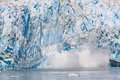 Alaska Sun Lit Calving Glacier Ice Royalty Free Stock Photo