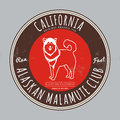 Alaskan malamute club. California Tee graphic. Vector