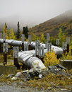 Alaskan oil pipeline a view of the going underground Stock Photos