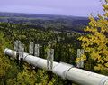 Alaskan oil pipeline a view of the going underground Stock Photo