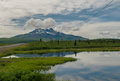 Alaskan pond and mountain landscape Royalty Free Stock Photo
