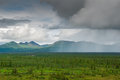 Alaskan rain pouring on plains in denali national park Stock Image