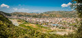 2016 Albania Berat - City of thousand windows, beautifull view of town on the hill between a lot of trees and blue sky Royalty Free Stock Photo