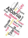 Albania map and cities words cloud with larger Stock Photos