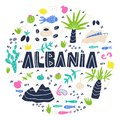 Albania round composition flat hand drawn vector illustration. Albania flora, fauna, landmarks cartoon cliparts Royalty Free Stock Photo
