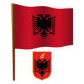 Albania wavy flag and coat of arms against white background art illustration image contains transparency Royalty Free Stock Photography