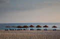 Albanian sea cost of with many sun umbrellas Royalty Free Stock Photography