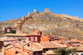 Albarracin with ancient fortress wall teruel spain Royalty Free Stock Images