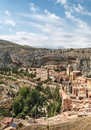Albarracin in vertical aerial view of located the spanish province of teruel see the mountain with rocks and trees surrounded the Royalty Free Stock Photos