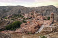Albarracin village aerial view of located in the spanish province of teruel see the mountain with rocks and trees surrounded the Royalty Free Stock Images
