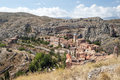Albarracin village aerial view of located in the spanish province of teruel see the mountain with rocks and trees surrounded the Royalty Free Stock Photo