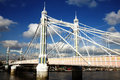 Albert bridge across the river thames connecting chelsea to battersea london england uk Royalty Free Stock Photography