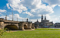 Albert Bridge in Dresden. Royalty Free Stock Photo