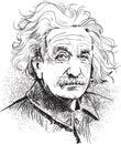 Albert Einstein portrait illustration, line art vector Royalty Free Stock Photo