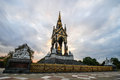 Albert memorial london the landmark in hyde park contrasting the neo gothic monument against a threatening sky the was built by Stock Photos