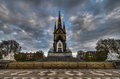 Albert memorial london from rear the landmark in hyde park contrasting the neo gothic monument against a threatening sky the was Stock Images