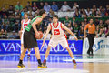 Albert ventura of joventut in action at spanish basketball league match between and zaragoza final score on april in Royalty Free Stock Photo