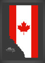 Alberta Canada map with Canadian national flag illustration