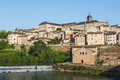Albi panoramic view tarn midi pyrenees france from the ancient bridge over the tarn river Royalty Free Stock Photo