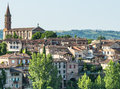 Albi panoramic view tarn midi pyrenees france from the gardens of the historic palais de la berbie Stock Images