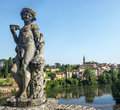 Albi panoramic view tarn midi pyrenees france gardens of the historic palais de la berbie and Royalty Free Stock Image