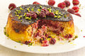 Alboloo polow persian rice with sour cherries as closeup on a white plate Royalty Free Stock Photo