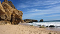 Albufeira algarve portugal falesia beach with coulored cliffs just Royalty Free Stock Photos