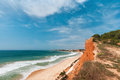 Albufeira coast algarve portugal in spring coastline at ohos de aqua near Stock Photo