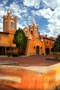 Albuquerque church with bluse sky and white clouds Stock Photo