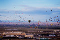 Albuquerque hot air balloon festival hundreds of balloons take to the sky at the annual image taken from color slide Stock Image