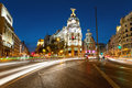 Alcala and gran via street in madrid by night crossing Stock Image